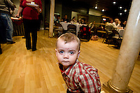 WATERBURY, CT - 31 JANUARY 2010 -013110JT08--.Mitchell Magyar, 20 months, of Southington, walks around The Hills Restaurant in Waterbury on Sunday during a fundraiser for himself and for C. J. Farr, 5, of New Britain. Both Farr and Magyar have a rare condition called urea cycle disorder..Josalee Thrift Republican-American