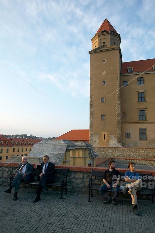 Europe, Slovakia, capitol city - Bratislava.Tourists at castle.