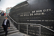 Water feature and poetry wall in Spiceal Street near the Bullring in Birmingham, United Kingdom.