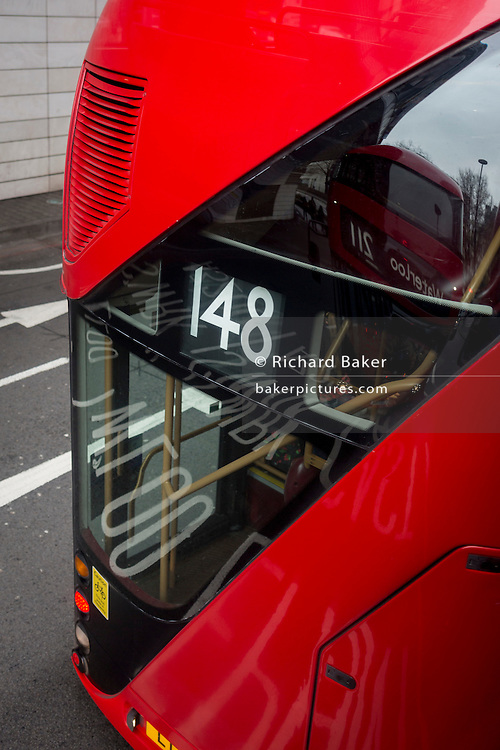 Aerial view of the rear of a number 148 red London Routemaster bus, on 15th February 2017, in London, United Kingdom.
