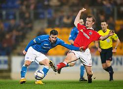 St Johnstone's Michael O'Halloran scoring their second goal. St Johnstone 2 v 1 Ross County, Scottish Premiership 22/11/2014 at St Johnstone's home ground, McDiarmid Park.
