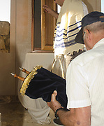 Interior of a synagogue Bar Mitzvah ceremony