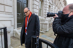 © Licensed to London News Pictures. 13/11/2020. London, UK. Dominic Cummings, Boris Johnson's top adviser, arrives at Downing Street this moving after announcing he will quit by Christmas. Lee Cain, No10's Director of Communications dramatically quit yesterday as a political storm surrounds Prime Minister Boris Johnson and Downing Street. Photo credit: Alex Lentati/LNP