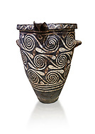 Luxury Minoan Kamares Ware pithos storage pot with incised swirl  decorations , Phaistos 1900-1700 BC; Heraklion Archaeological  Museum, white background.<br /> <br /> This style of pottery is named afetr Kamares cave where this style of pottery was first found .<br /> <br /> If you prefer to buy from our ALAMY PHOTO LIBRARY  Collection visit : https://www.alamy.com/portfolio/paul-williams-funkystock/minoan-art-artefacts.html . Type -   Heraklion   - into the LOWER SEARCH WITHIN GALLERY box. Refine search by adding background colour, place, museum etc<br /> <br /> Visit our MINOAN ART PHOTO COLLECTIONS for more photos to download  as wall art prints https://funkystock.photoshelter.com/gallery-collection/Ancient-Minoans-Art-Artefacts-Antiquities-Historic-Places-Pictures-Images-of/C0000ricT2SU_M9w