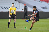 Krisnan Inu (4) of Salford Red Devils successfully converts a try to make it 6-0
