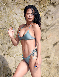 EXCLUSIVE: Bikini Ready! Christina Milian, 37, shows off her flawless figure and proves she more than ready for summer as she gets steamy for a shoot for House Of Fine Gold swim wear in Malibu,CA. 15 May 2019 Pictured: Chrsitina Milian. Photo credit: MOVI Inc. / MEGA TheMegaAgency.com +1 888 505 6342