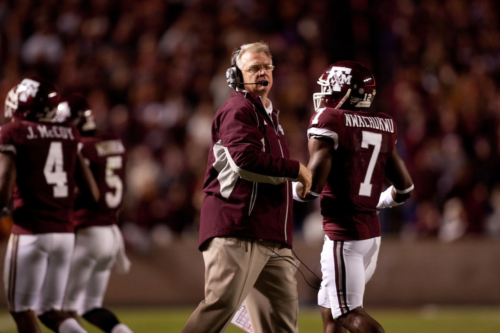 Mike Sherman, head coach.Texas Longhorns at Texas A&M Aggies. Photographed at Kyle Field in College Station, Texas on Thursday, November 26 2009. Photograph © 2009 Darren Carroll