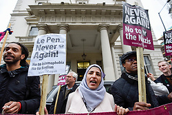 © Licensed to London News Pictures. 24/04/2017. London, UK. Demonstrators gather outside the Embassy of France in Knightsbridge to protest against fascism and French Presidential candidate Marine Le Pen. Photo credit : Stephen Chung/LNP