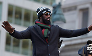 Eagles safety Malcom Jenkins celebrates the team's Super Bowl LII win during a parade Feb. 8, 2018, in front of millions of fans in downtown Philadelphia, Pennsylvania. (Photo by Matt Smith)