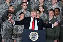 September 15, 2017 - Joint Base Andrews, Maryland, U.S. - United States President DONALD J. TRUMP delivers remarks to military personnel and families in a hanger at Joint Base Andrews.  He visited JBA to commemorate the 70th anniversary of the US Air Force. (Credit Image: © Ron Sachs/CNP via ZUMA Wire)