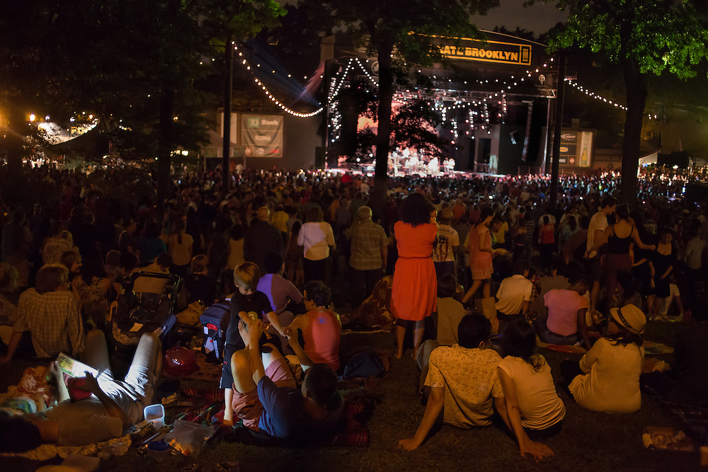 The view from the lawn to the bandshell,with Eddie Palmieri and his band on stage. The concert area was full to capacity.