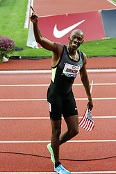 men's 800 meters, Khadevis Robinson victory lap after making Olympic team