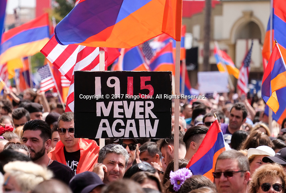 Tens of thousands of demonstrators carrying signs and Armenian flags march to the Turkish consulate in Los Angeles Monday, April 24, 2017, to mark the 102nd anniversary of the Armenian Genocide. (Photo by Ringo Chiu/PHOTOFORMULA.com)<br /> <br /> Usage Notes: This content is intended for editorial use only. For other uses, additional clearances may be required.