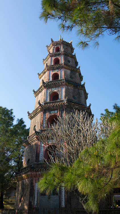 The Pagoda of the Celestial Lady is a historic temple in the city of Huế in Vietnam. Its iconic seven-story pagoda is regarded as the unofficial symbol of the city.