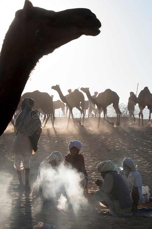 Desert nomads warm themselves by a fire while watching their camel herd.