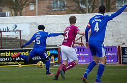 06MAR21 Queen of the South's Ayo Obileye scoring their fourth goal. Arbroath 2 v 4 Queen of the South, Scottish Championship played 6/3/2021 at Arbroath's home ground, Gayfield Park.
