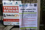 A Thames Valley Police notice calling for people to respect and protect nature for future generations is seen at Calvert Jubilee Nature Reserve on 27 July 2020 in Calvert, United Kingdom. On 22nd July, the Berks, Bucks and Oxon Wildlife Trust BBOWT reported that it had been informed of HS2's intention to take possession of part of Calvert Jubilee nature reserve, which is home to bittern, breeding tern and some of the UK's rarest butterflies, on 28th July to undertake unspecified clearance works in connection with the high-speed rail link.