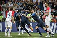 Paul Pogba of France celebrates after his goal with Olivier Giroud during the 2018 FIFA World Cup Russia, final football match between France and Croatia on July 15, 2018 at Luzhniki Stadium in Moscow, Russia - Photo Thiago Bernardes / FramePhoto / ProSportsImages / DPPI