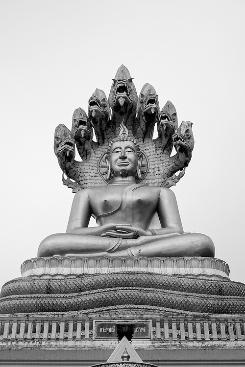Phra Nakprok meditation center with Buddha with seven-headed serpent statue on the roof, part of the Nakrpok Temple complex in Tha Ton, Thailand.