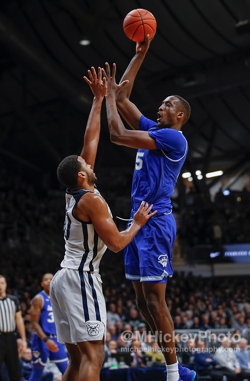 INDIANAPOLIS, IN - JANUARY 15: Romaro Gill #35 of the Seton Hall Pirates shoots the ball during the game against the Butler Bulldogs at Hinkle Fieldhouse on January 15, 2020 in Indianapolis, Indiana. (Photo by Michael Hickey/Getty Images) *** Local Caption *** Romaro Gill