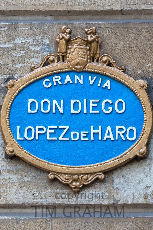 Street sign for Gran Via Don Diego Lopez de Haro in Castro Urdiales in Northern Spain