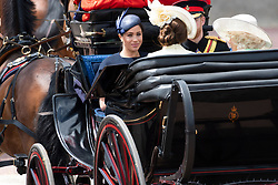 © Licensed to London News Pictures. 08/06/2019. London, UK. Meghan, Duchess of Sussex travels to Buckingham Palace during the Trooping the Colour ceremony to mark Queen Elizabeth II's 93rd birthday. Photo credit: Ray Tang/LNP