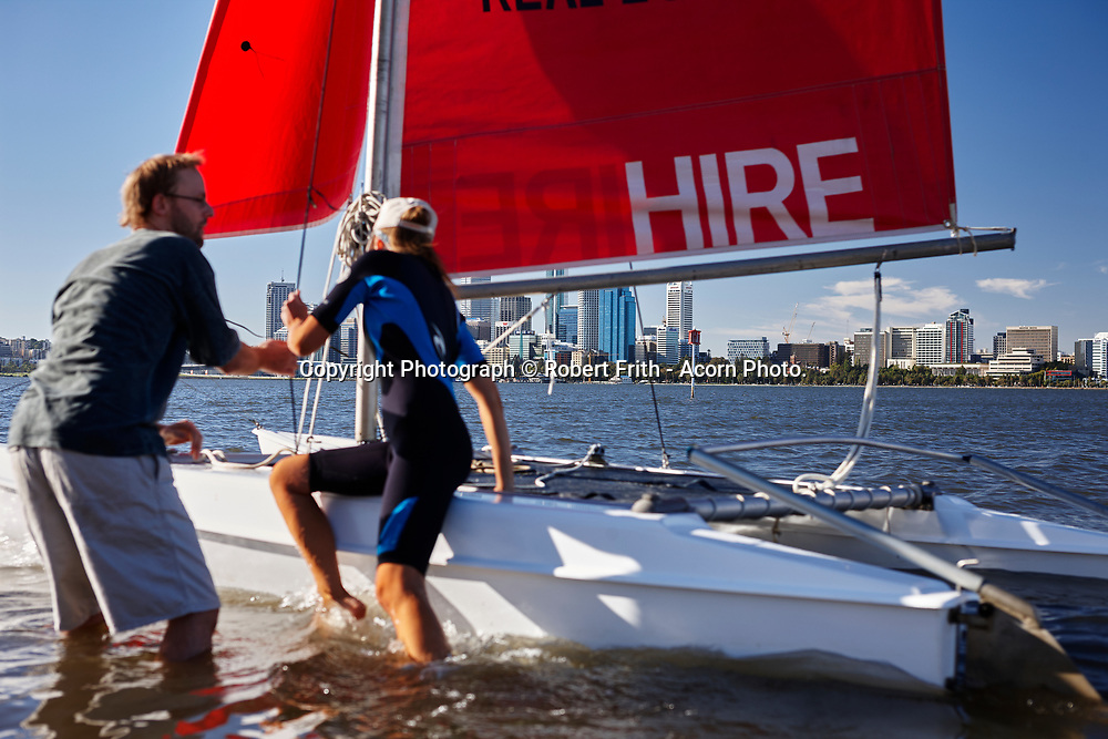 Perth City with catamaran in the foreground
