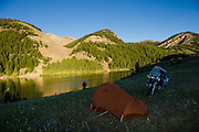 Motorcycle camping at Morrison Lake, high in the Montana Rockies.