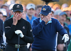 April 6, 2017 - Augusta, GA, USA - Honorary starters JACK NICKLAUS and GARY PLAYER are moved to tears during the ceremony for Arnold Palmer at the honorary start of the Masters at Augusta National Golf Club, in Augusta, Ga. (Credit Image: © Curtis Compton/TNS via ZUMA Wire)