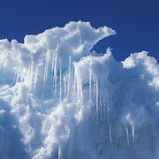 Canada, Nunavut Territory, Melting ice formations off Baffin Island.