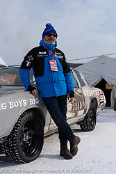 Fred Billon of France was a big help to several teams (and kept the rest of us smiling!) at the Baikal Mile Ice Speed Festival. Maksimiha, Siberia, Russia. Wednesday, February 26, 2020. Photography ©2020 Michael Lichter.