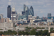 Aerial view of south London looking from Camberwell towards the Gerkin tower in the old City, the capital's oldest district.
