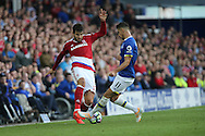 Kevin Mirallas of Everton looks to tackle Antonio Barragan of Middlesbrough. Premier league match, Everton v Middlesbrough at Goodison Park in Liverpool, Merseyside on Saturday 17th September 2016.<br /> pic by Chris Stading, Andrew Orchard sports photography.