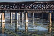 Railroad bridge over Los Angeles River, Downtown Los Angeles, California, USA