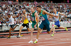 Brazil's Mateus Evangelista Cardoso (right) wins the Men's 100m T37 Final during day seven of the 2017 World Para Athletics Championships at London Stadium. PRESS ASSOCIATION Photo. Picture date: Thursday July 20, 2017. See PA story ATHLETICS Para. Photo credit should read: Paul Harding/PA Wire. RESTRICTIONS: Editorial use only. No transmission of sound or moving images and no video simulation.