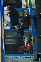PENTICTON, CANADA - SEPTEMBER 8: Spencer Foo #15 of Calgary Flames sits in the penalty box against the Edmonton Oilers on September 8, 2017 at the South Okanagan Event Centre in Penticton, British Columbia, Canada.  (Photo by Marissa Baecker/Shoot the Breeze)  *** Local Caption ***