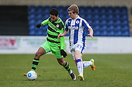 Forest Green Rovers Fabien Robert(26) battles with Chester's Ryan Lloyd(21) during the FA Trophy 2nd round match between Chester FC and Forest Green Rovers at the Deva Stadium, Chester, United Kingdom on 14 January 2017. Photo by Shane Healey.