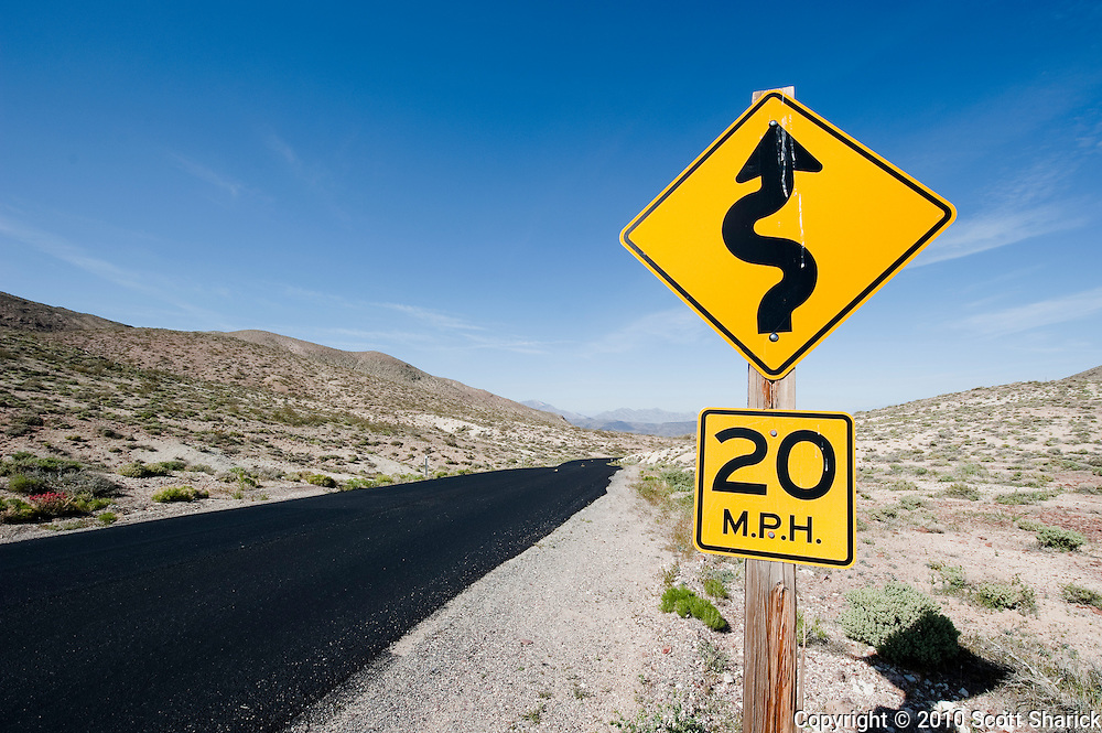 A 20 mile per hour road sign in Death Valley National Park in California