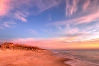 A spectacular sunrise on the Atlantic coast on Bald Head Island, North Carolina.