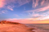 A spectacular sunrise on the Atlantic coast on Bald Head Island, North Carolina.