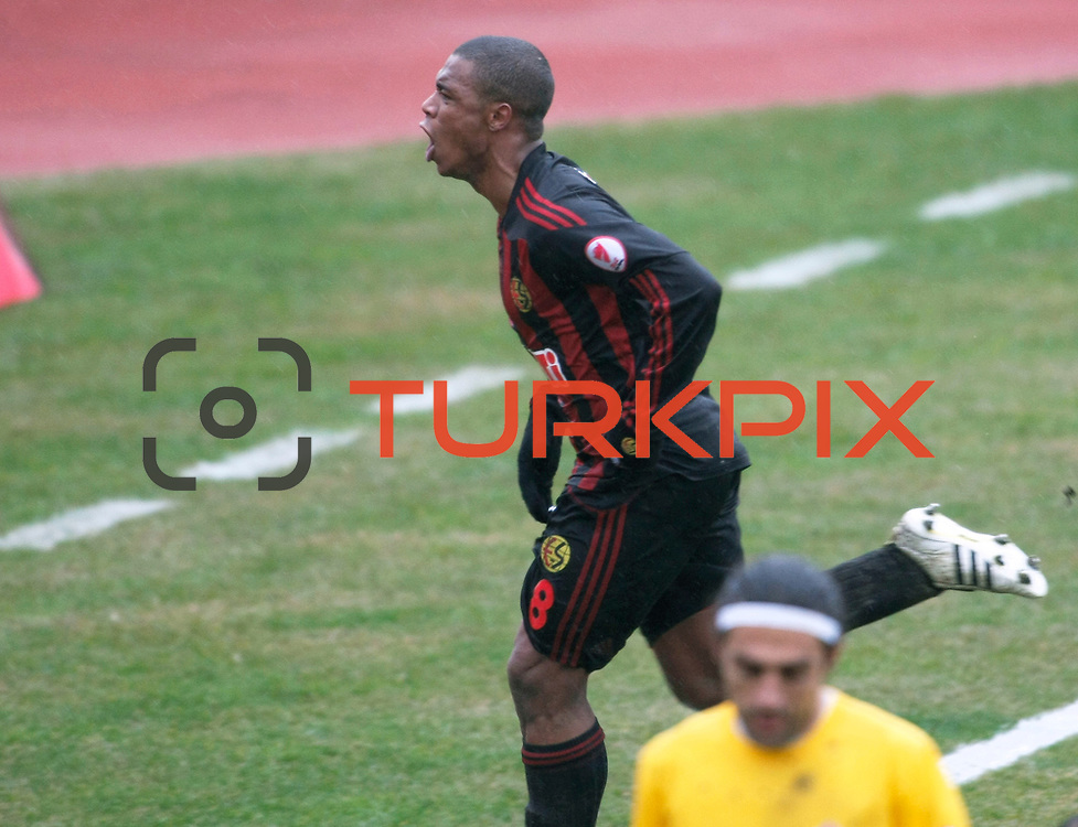 Eskisehirspor's Vitor Hugo Gomes Passos celebrate his goal during their Turkey Cup matchday 3 soccer match Eyupspor between Eskisehirspor at Eyup Stadium in Istanbul Turkey on Wednesday, 11 January 2012. Photo by TURKPIX
