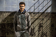 May0081986 . Daily Telegraph<br /> <br /> DT sport<br /> <br /> Spurs midfielder Dele Alli at the launch of a junior football league with help from the Tottenham Hotspur Foundation at the Duke's Aldridge Academy which sits next to the new Spurs stadium .