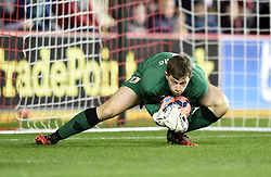 Bristol City goalkeeper, Frank Fielding in action during the FA Cup third round replay between Bristol City and Doncaster Rovers at Ashton Gate on January 13, 2015 in Bristol, England. - Photo mandatory by-line: Paul Knight/JMP - Mobile: 07966 386802 - 13/01/2015 - SPORT - Football - Bristol - Ashton Gate Stadium - Bristol City v Doncaster Rovers - FA Cup third round replay
