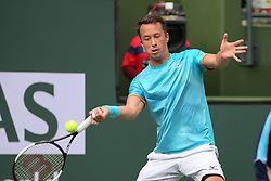 March 9, 2019 - Indian Wells, CA, U.S. - INDIAN WELLS, CA - MARCH 09: Philipp Kohlschreiber (GER) hits a forehand during the BNP Paribas Open on March 9, 2019 at Indian Wells Tennis Garden in Indian Wells, CA. (Photo by George Walker/Icon Sportswire) (Credit Image: © George Walker/Icon SMI via ZUMA Press)