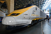 Eurostar locomotive. The popular National Railway Museum (NRM) tells the story of rail transport in Britain and houses historically significant artifacts, rolling stock, and over 100 locomotives. Visit it in York, North Yorkshire, England, United Kingdom, Europe. In the 1800s, York became a hub of the British railway network.