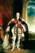 William IV (1765-1837), 1833, King of United Kingdom (1830-1837). Portrait by Sir Martin Archer Shee (1769-1850) of William in robes of Order of the Garter. Crown on table, Windsor Castle through arch on right.