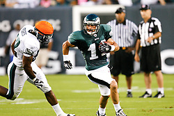 Philadelphia Eagles wide receiver Danny Amendola #11 runs back a punt during the Philadelphia Eagles NFL Flight Night at Lincoln Financial Field in Philadelphia, Pennsylvania on Sunday August 2nd 2009. (Photo by Brian Garfinkel)