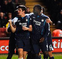 Photo: Daniel Hambury.<br />Charlton Athletic v Manchester City. Barclays Premiership.<br />04/12/2005.<br />City's Joey Barton celebrates after scoring the third goal.