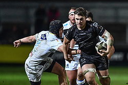 Taine Basham of Dragons in action during todays match<br /> <br /> Photographer Craig Thomas/Replay Images<br /> <br /> Guinness PRO14 Round 7 - Dragons v Zebre - Saturday 30th November 2019 - Rodney Parade - Newport<br /> <br /> World Copyright © Replay Images . All rights reserved. info@replayimages.co.uk - http://replayimages.co.uk