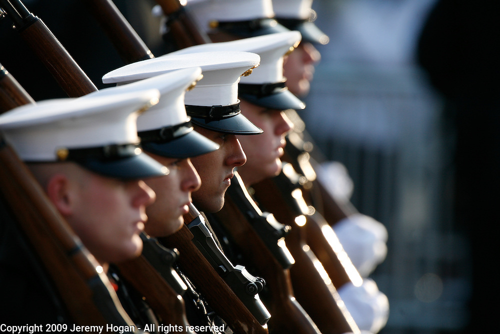 Members of the Marines march in Barack Obama's inaugural parade.